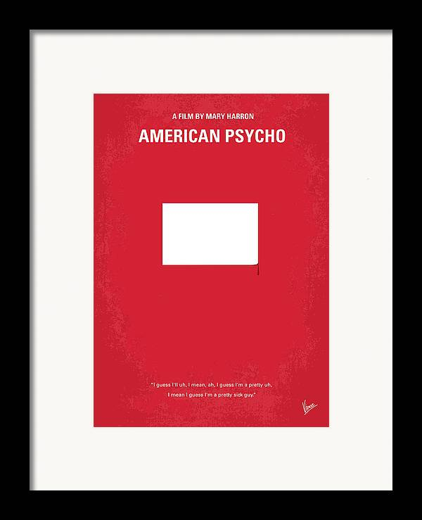 American Framed Print featuring the digital art No005 My American Psyhco Minimal Movie Poster by Chungkong Art