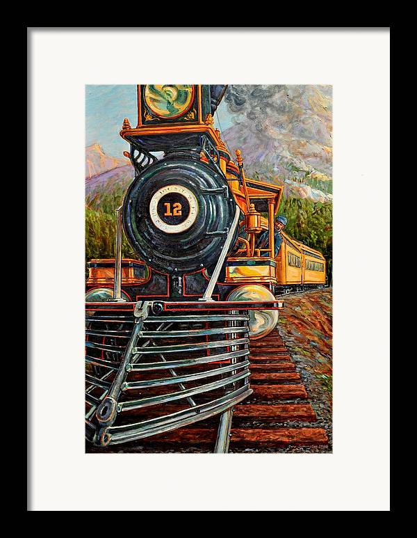Train Framed Print featuring the painting No.12 In The Mountains by Gary Symington
