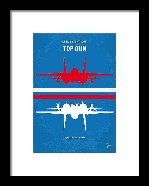 Top Framed Print featuring the digital art No128 My TOP GUN minimal movie poster by Chungkong Art
