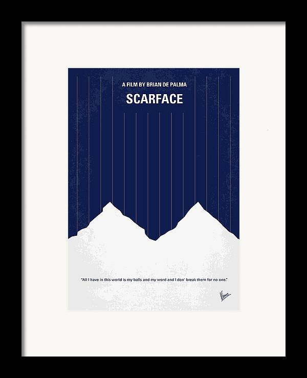 Scarface Framed Print featuring the digital art No158 My Scarface Minimal Movie Poster by Chungkong Art