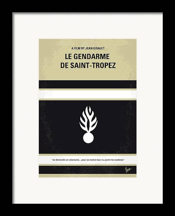 Le Framed Print featuring the digital art No186 My Le Gendarme De Saint-tropez Minimal Movie Poster by Chungkong Art