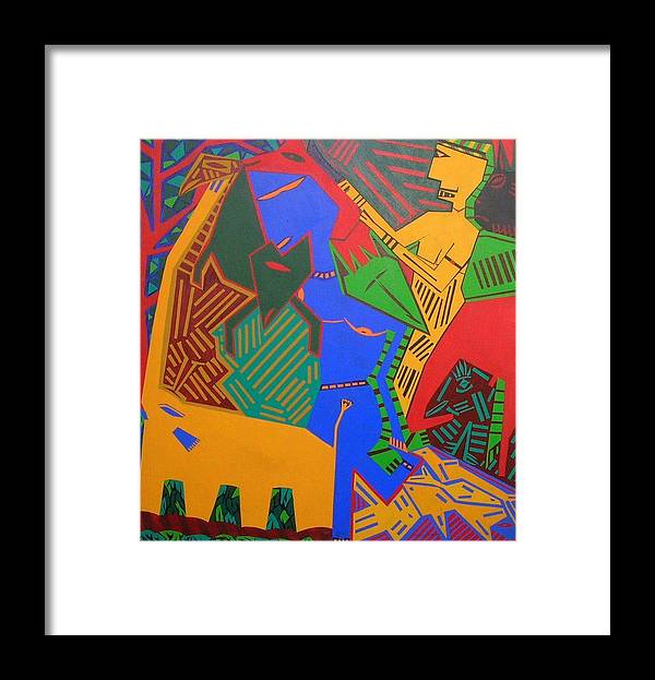 Warrior Forest Woman Animals Framed Print featuring the painting No.281 by Vijayan Kannampilly