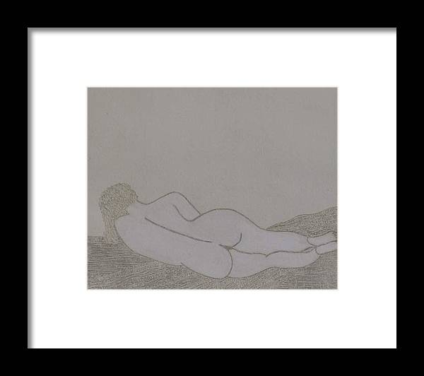 Nude Study; Silver Point Framed Print featuring the drawing No.322 by Vijayan Kannampilly
