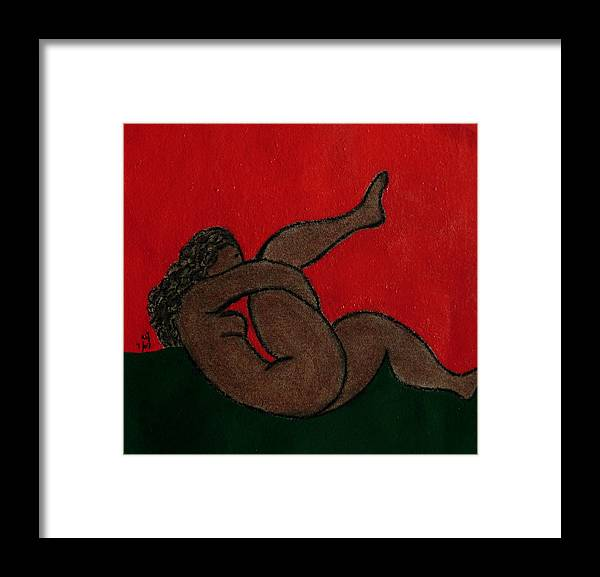 Female Nude Framed Print featuring the drawing No.327 by Vijayan Kannampilly