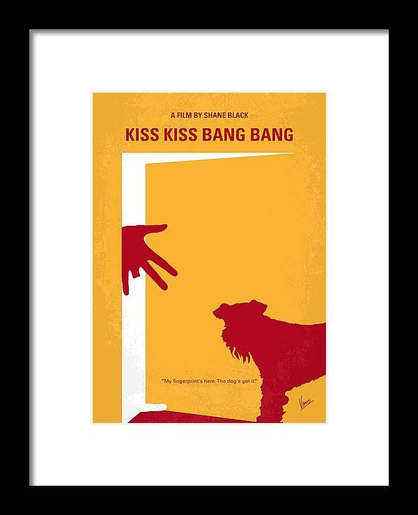 Kiss Framed Print featuring the digital art No452 My Kiss Kiss Bang Bang Minimal Movie Poster by Chungkong Art