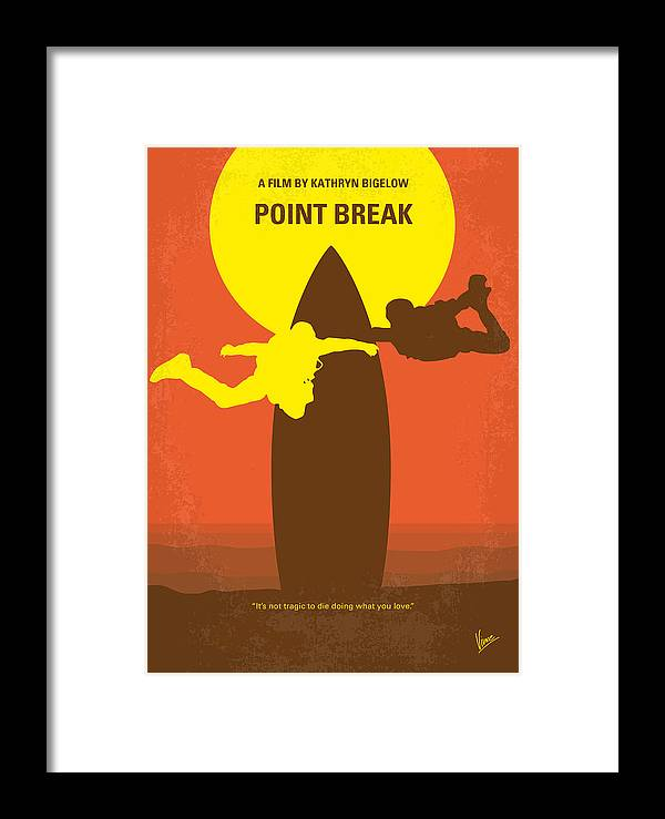 Point Framed Print featuring the digital art No455 My Point Break Minimal Movie Poster by Chungkong Art