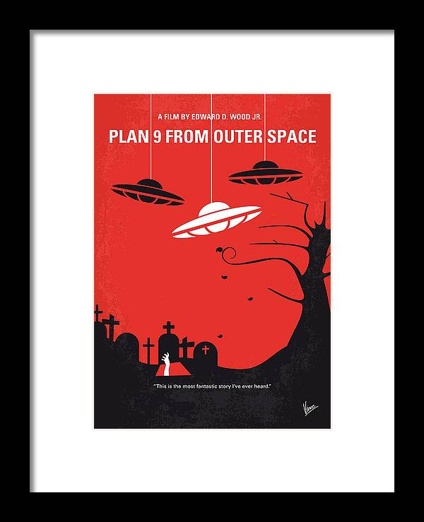 No518 My Plan 9 From Outer Space Minimal Movie Poster Framed Print