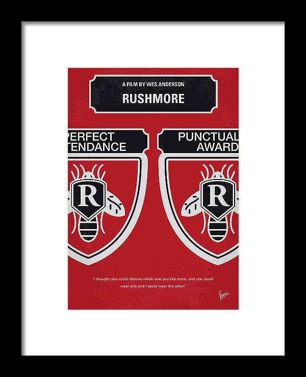 Rushmore Framed Print featuring the digital art No791 My Rushmore Minimal Movie Poster by Chungkong Art