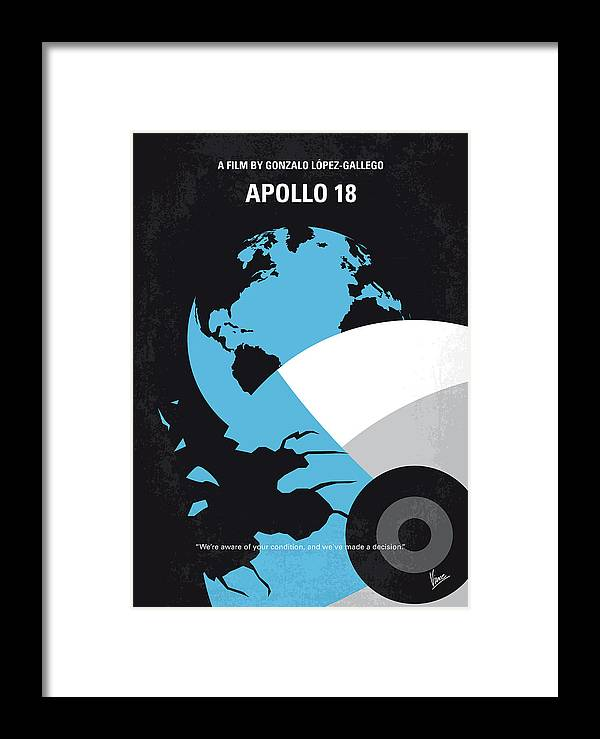 Apollo Framed Print featuring the digital art No873 My Apollo 18 Minimal Movie Poster by Chungkong Art