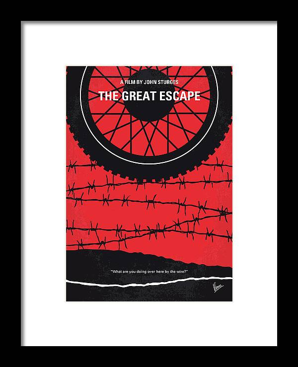 The Framed Print featuring the digital art No958 My The Great Escape Minimal Movie Poster by Chungkong Art