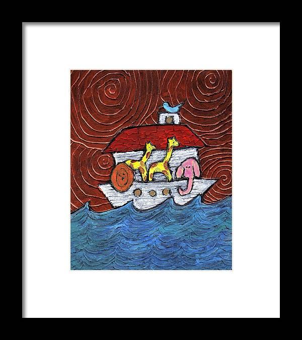 Noah Framed Print featuring the painting Noahs Ark With Blue Bird by Wayne Potrafka