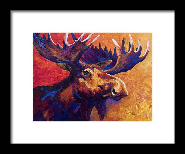 Moose Framed Print featuring the painting Noble Pause by Marion Rose