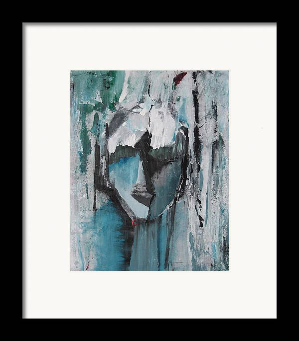 Abstract Acrylic Blue Darkestartist Nobody Portrait Darkest Artist Face Framed Print featuring the painting Nobody by Darkest Artist
