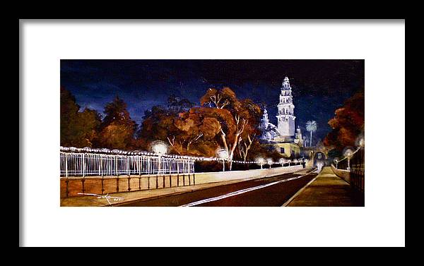 Cityscapes Framed Print featuring the painting Nocturnal Cabrillo by Duke Windsor