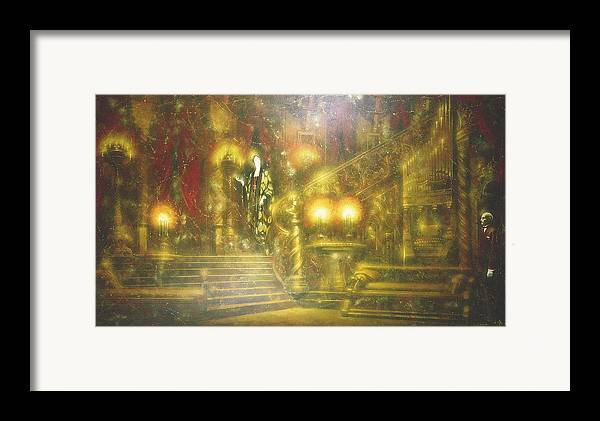 Figures Framed Print featuring the painting Nocturnal Discussion by Andrej Vystropov
