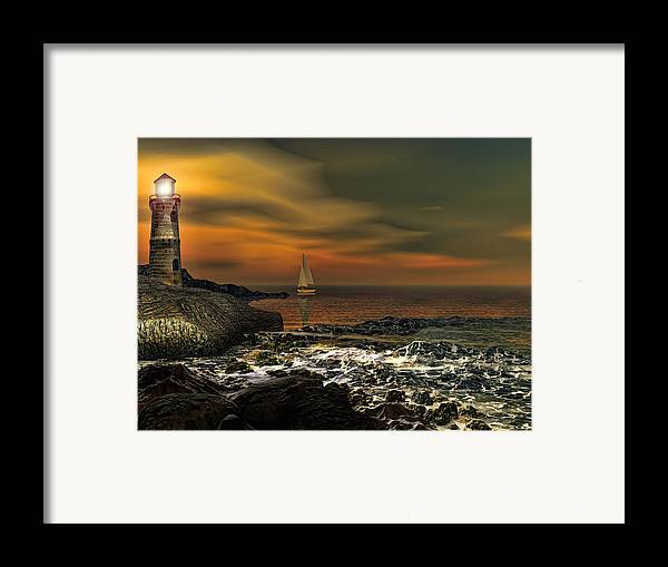 Lighthouse Framed Print featuring the photograph Nocturnal Tranquility by Lourry Legarde