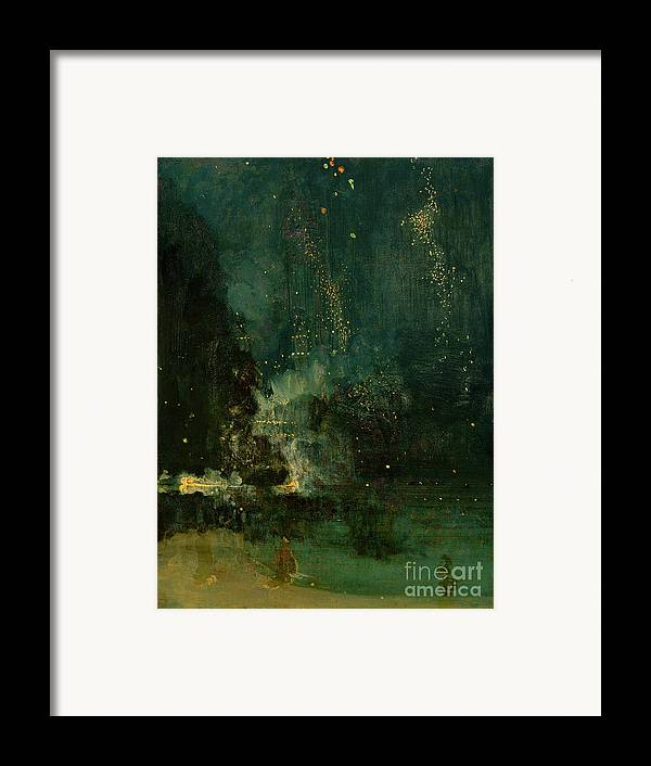 Nocturne Framed Print featuring the painting Nocturne In Black And Gold - The Falling Rocket by James Abbott McNeill Whistler