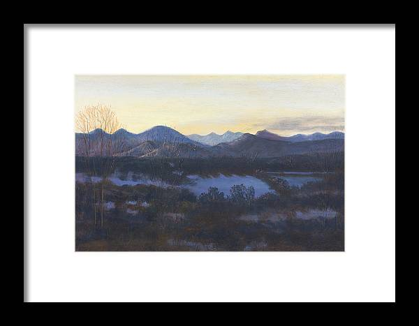 Landscape Of Co Mountains Framed Print featuring the painting Nocturne On The Front Range Of Colorado by Diane Edwards