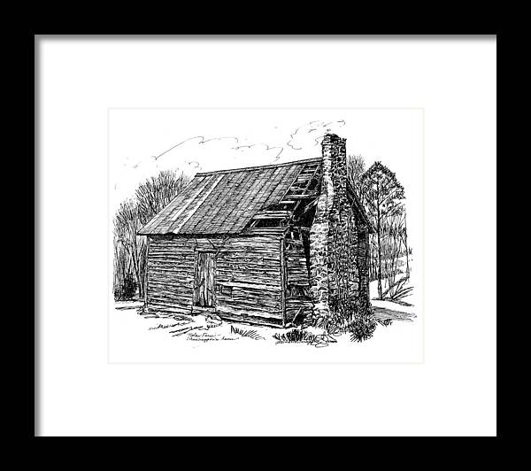 Landscape Framed Print featuring the drawing Nolan Corners Sharecropper's Shack by Peter Muzyka