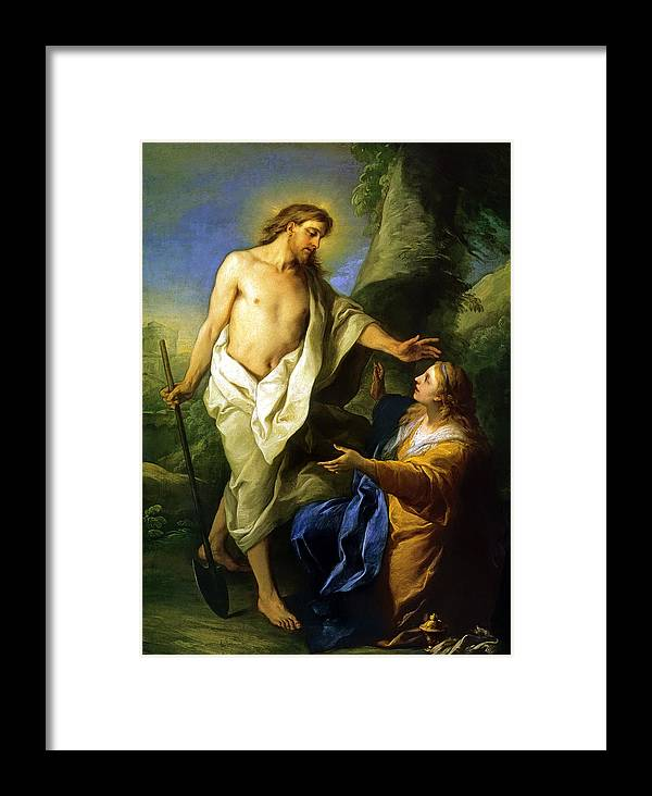 Jesus Appears Mary Magdalene Framed Print featuring the painting Noli Me Tangere by Carle Vanloo