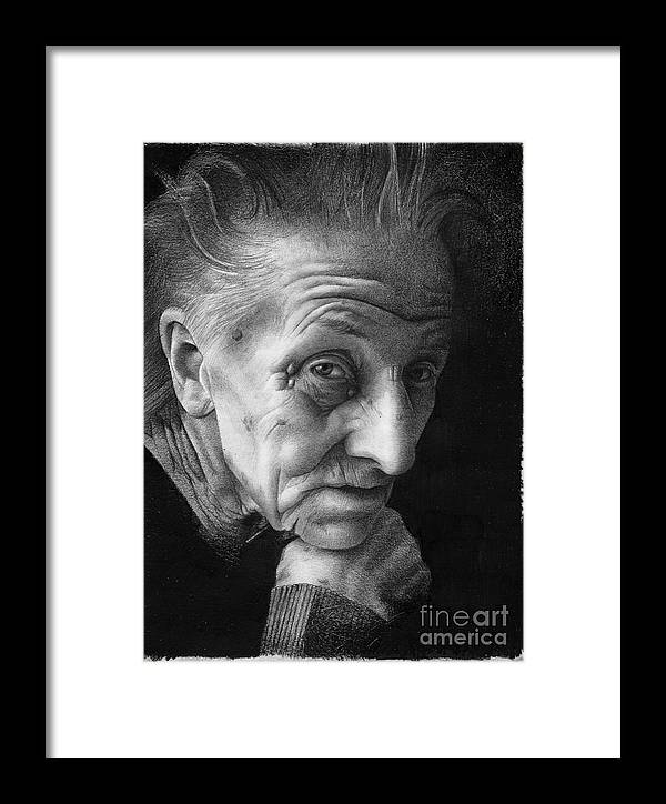 Graphite Framed Print featuring the drawing Nonna by David Vanderpool