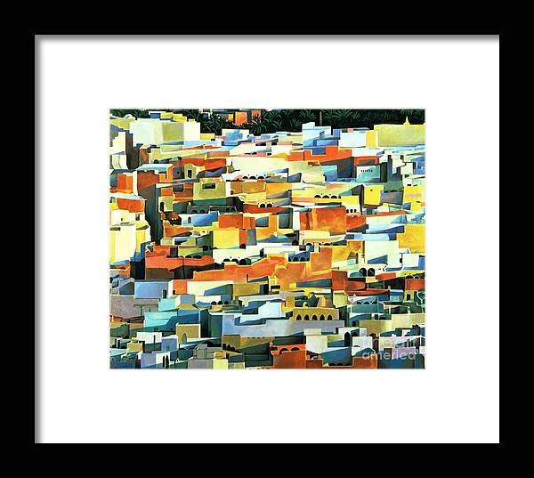 Town; Urban; Flat Roofs; Roof; Africa; Moorish Architecture; African; Townscape; North Africa; Colorful; House; Houses Framed Print featuring the painting North African Townscape by Robert Tyndall