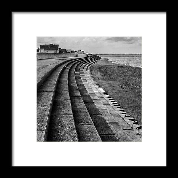 Monochromephotography Framed Print featuring the photograph North Beach, Heacham, Norfolk, England by John Edwards