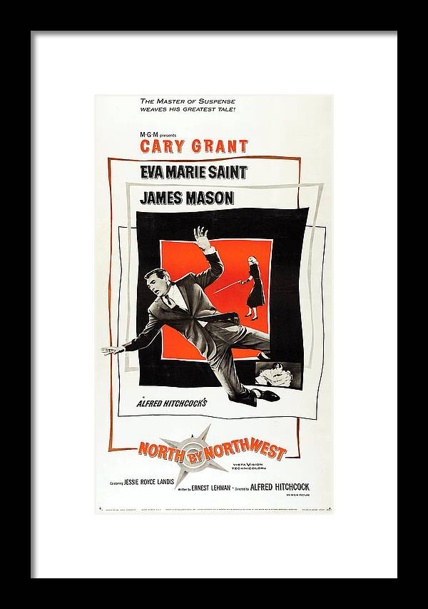 Movie Framed Print featuring the mixed media North By Northwest 1959 by Mountain Dreams