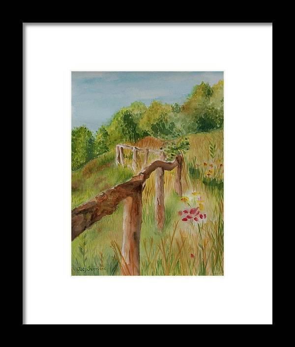 Apple Orchard Framed Print featuring the painting North Carolina Apple Orchard by Judy Swerlick