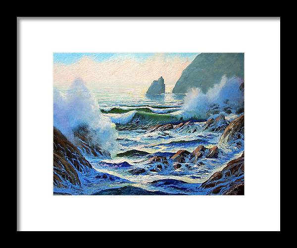 Seascape Framed Print featuring the painting North Coast Surf by Frank Wilson