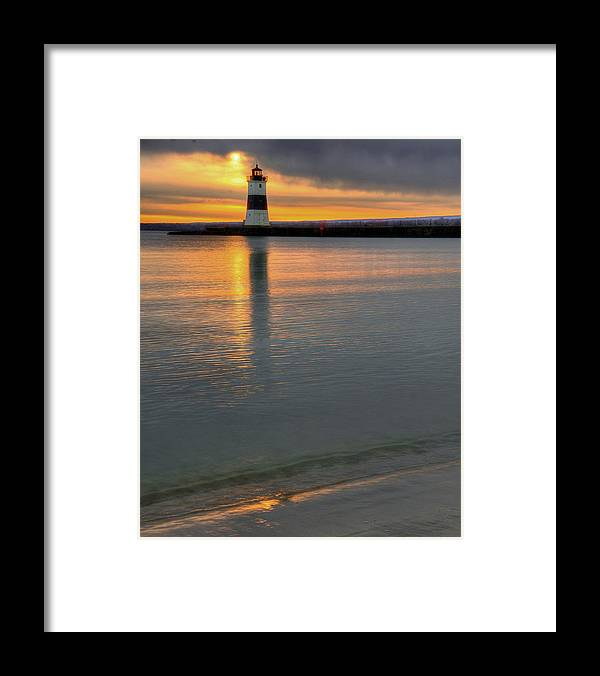 Lighthouse Framed Print featuring the photograph North Pier Lighthouse 1 by Brian Fisher