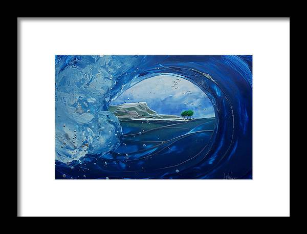 Encaustic Painting Framed Print featuring the painting North Shore Window Barrel Hrz by Danita Cole