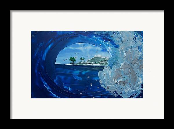Wave Framed Print featuring the painting North Shore Window Barrel Right by Danita Cole