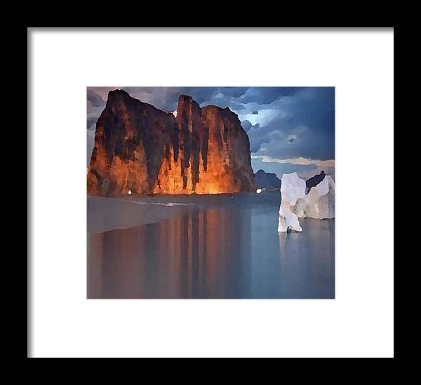 North.rock.iceberg.sea.sky.clouds.cold.landscape.nature.rest.silence Framed Print featuring the digital art North Silence by Dr Loifer Vladimir