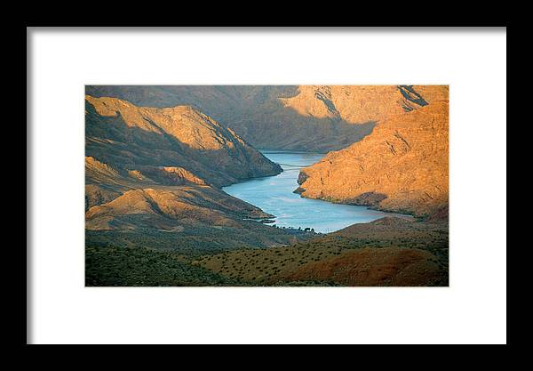 Desert Water Landscape Sunrise Lake Mead Mountains Orange Yellow Framed Print featuring the photograph Northern Arizona Lake Mead by Florine Duffield