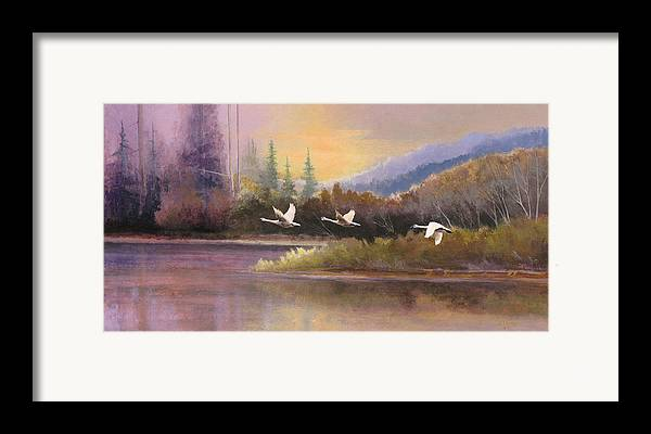 Landscape Framed Print featuring the painting Northern Flight by Dalas Klein