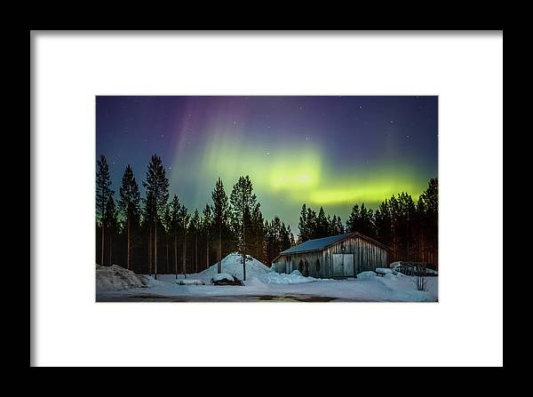 Landscape Framed Print featuring the photograph Northern Lights Sapmi Shed Karasjok Norway by Adam Rainoff