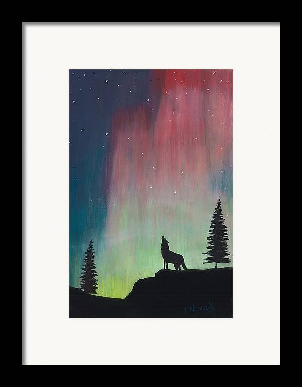 Northern Lights Framed Print featuring the painting Northern Lights Stardust by Jackie Novak