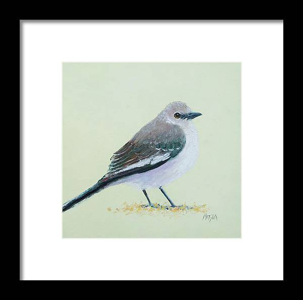 Mockingbird Framed Print featuring the painting Northern Mockingbird by Jan Matson