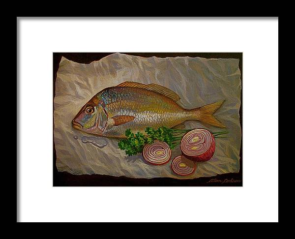Still Framed Print featuring the painting Northern Scup With Dill Onion by Alan Carlson