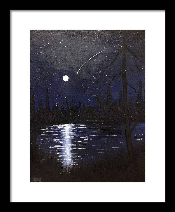 Night Sky Framed Print featuring the painting Northern Shooting Star by Imran Virk