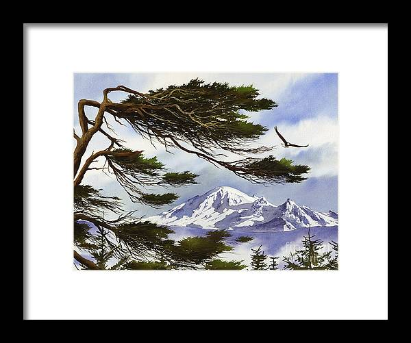 Landscape Fine Art Print Framed Print featuring the painting Northwest Majesty by James Williamson