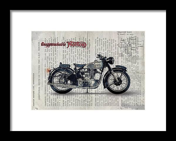 Norton Es 2 1948 Framed Print featuring the digital art Norton ES 2 1948 by Yurdaer Bes