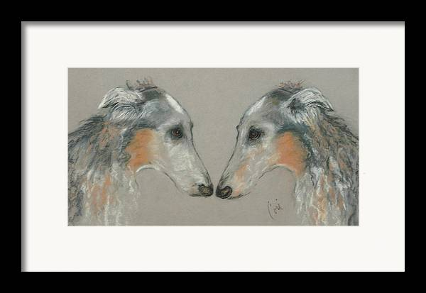 Dog Framed Print featuring the drawing Nose To Nose by Cori Solomon