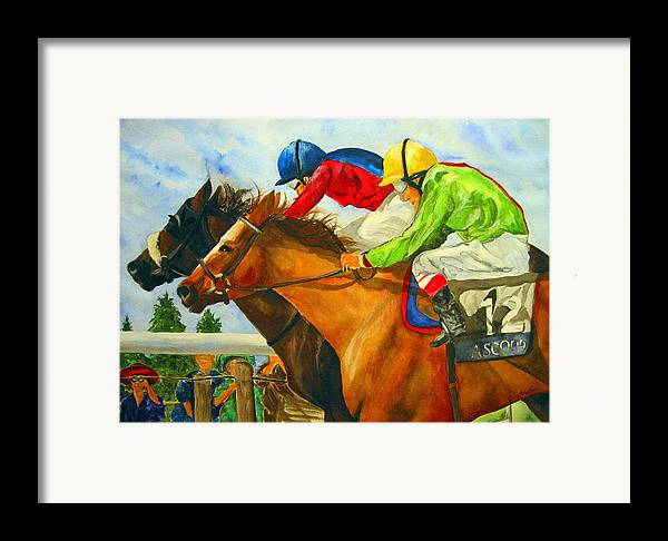 Horse Framed Print featuring the painting Nose To Nose by Jean Blackmer