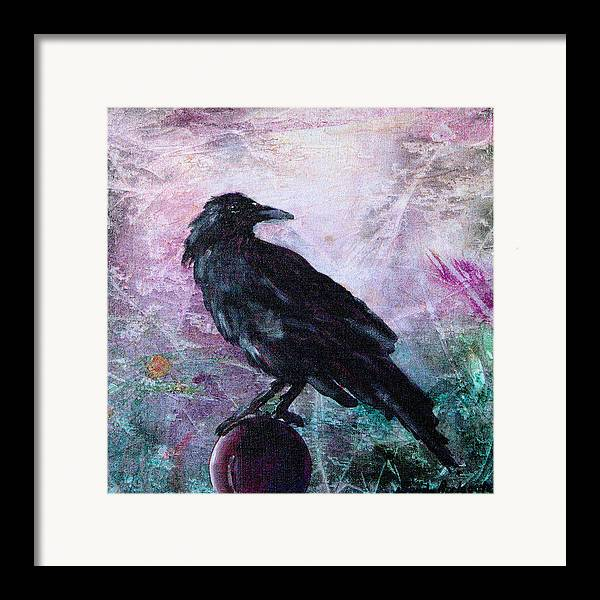 Raven Framed Print featuring the painting Not A Feather Then He Fluttered by Sandy Applegate