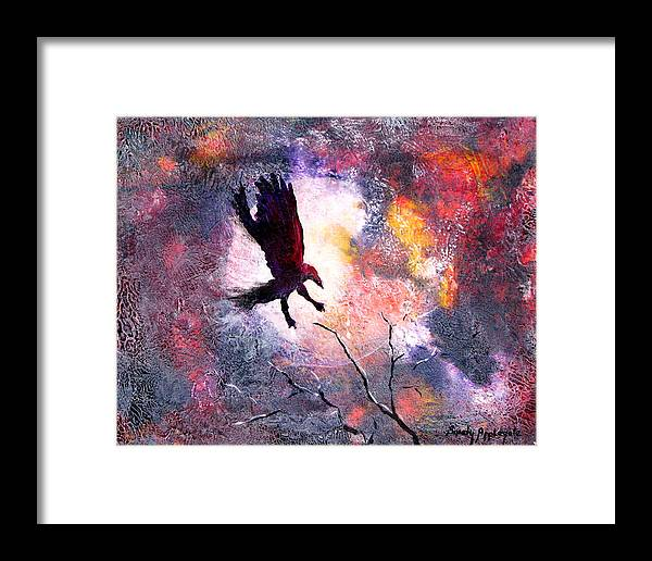 Raven Framed Print featuring the painting Not A Minute Stopped Or Stayed He by Sandy Applegate