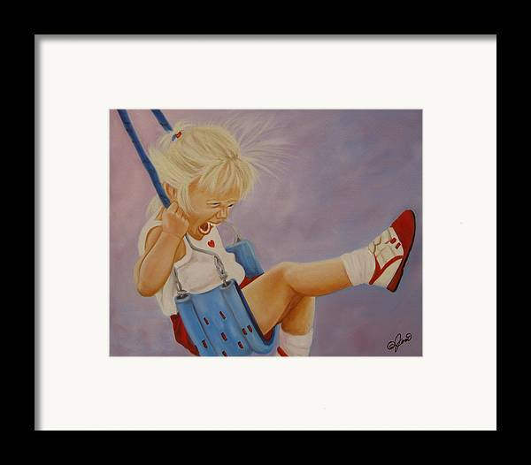 Child Framed Print featuring the painting Not A Worry Not A Care by Joni McPherson