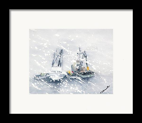 Coastal Framed Print featuring the painting Not All Fishing Is Fun by Robert Thomaston