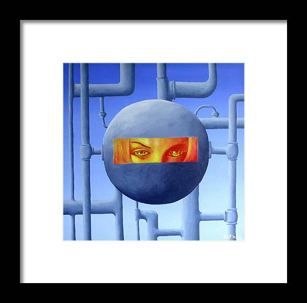 Industrial Framed Print featuring the painting Not For Long by Poul Costinsky